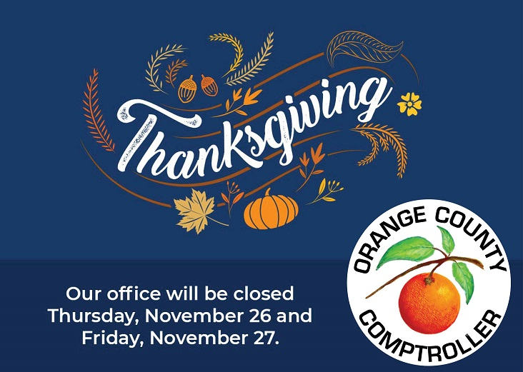 Orange County Comptroller offices will be closed on Thanksgiving